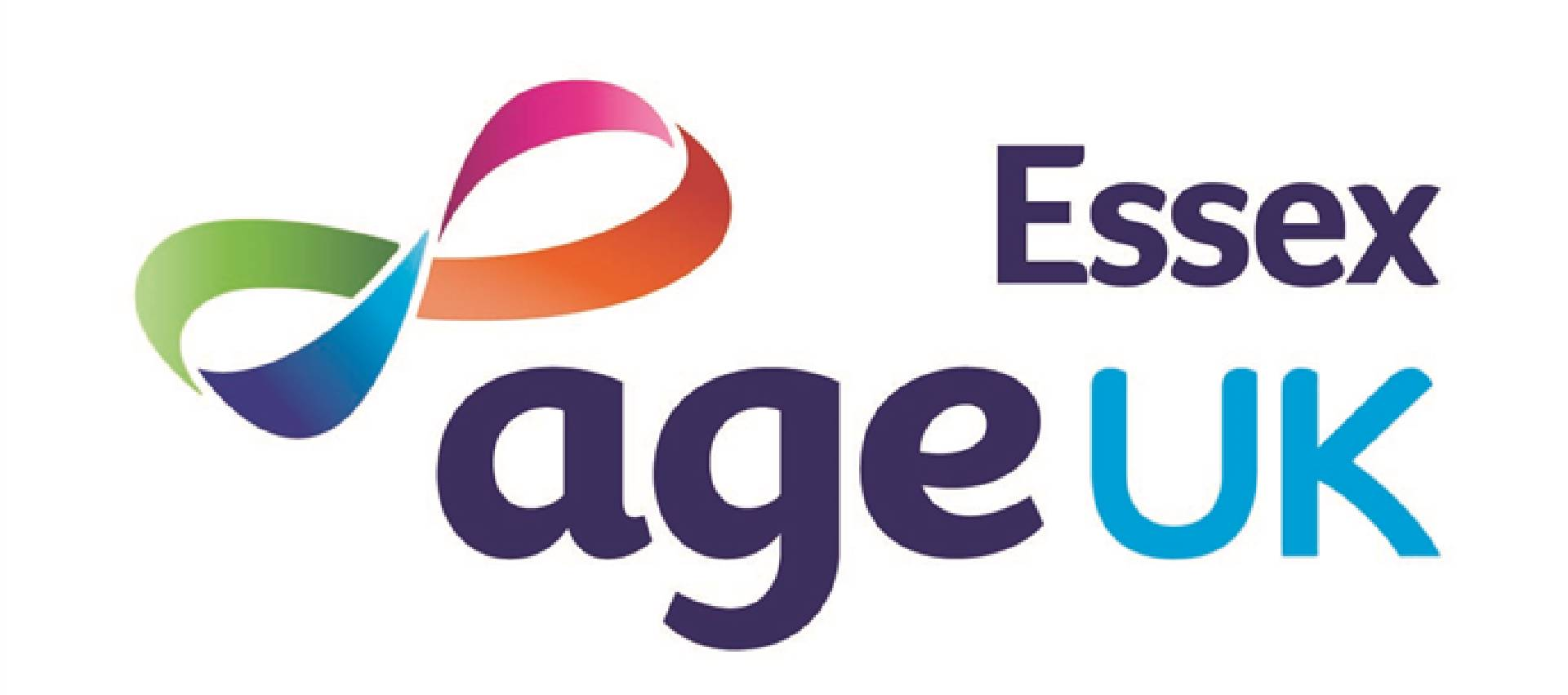 """The logo for Age UK Essex, featuring the words """"Age UK Essex"""" and a ribbon"""